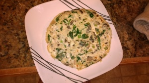 Bacon, Mushroom, Spinach, Green Onion, and Cream Cheese Frittata.