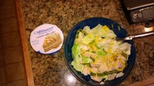 Tuna, asparagus, and butter lettuce salad with a yogurt.