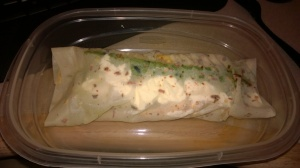 Chicken, asparagus, and ff cream cheese wrap!