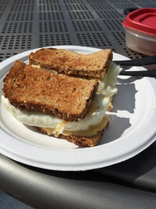 Dave's Killer bread, egg whites, smoked chicken breast and a slice of 2% American cheese.